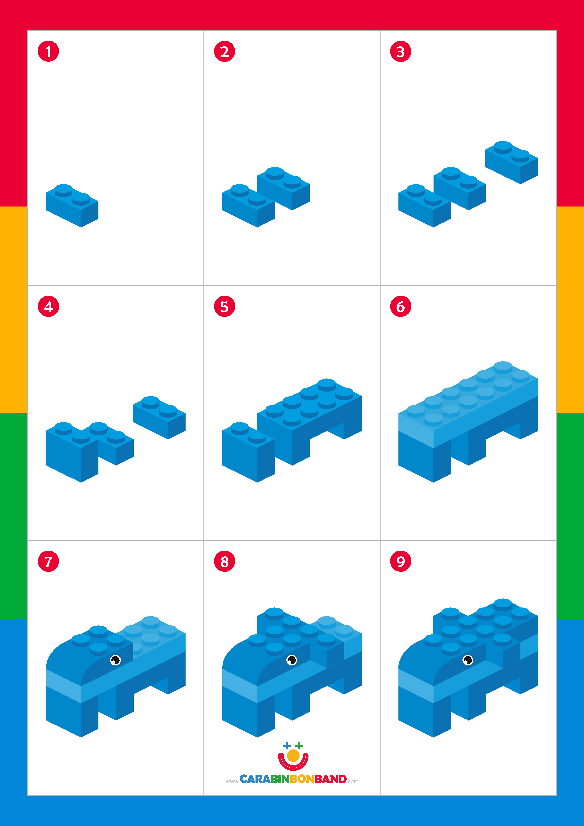 Lego Tutorial How To Make An Elephant Step By Step Cara