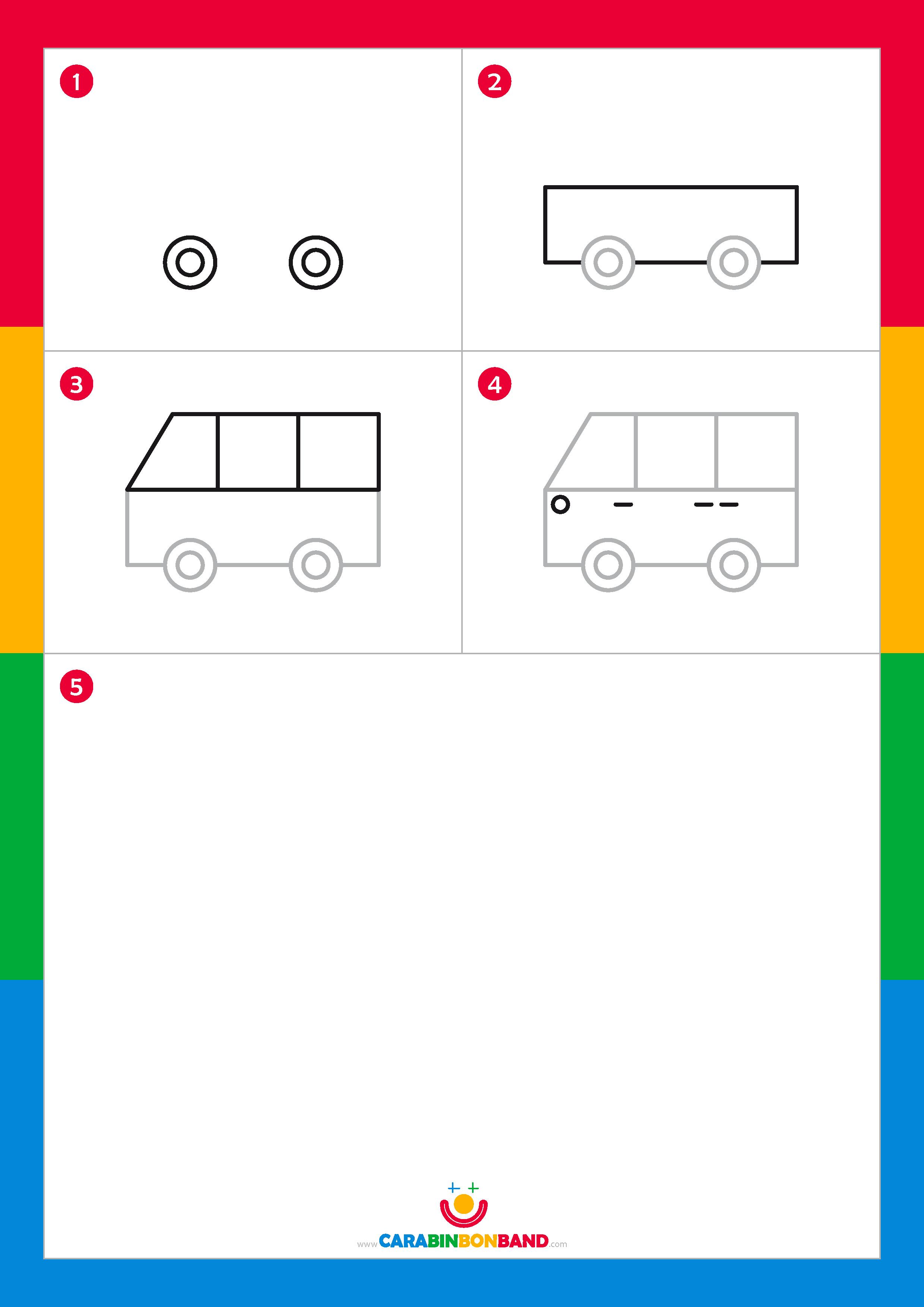 Drawing tutorials: easy van for kids