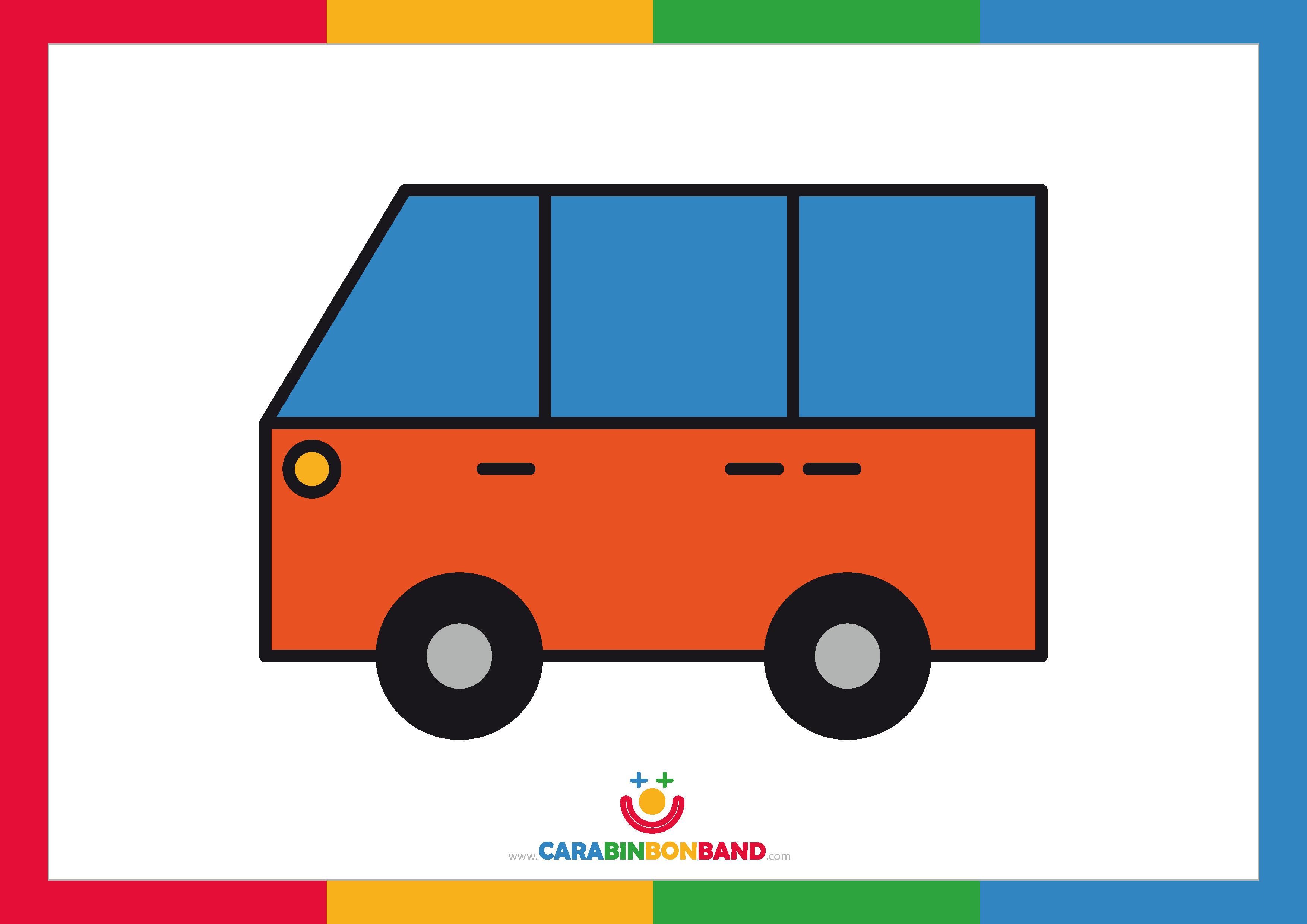 Láminas decorativas: furgoneta naranja