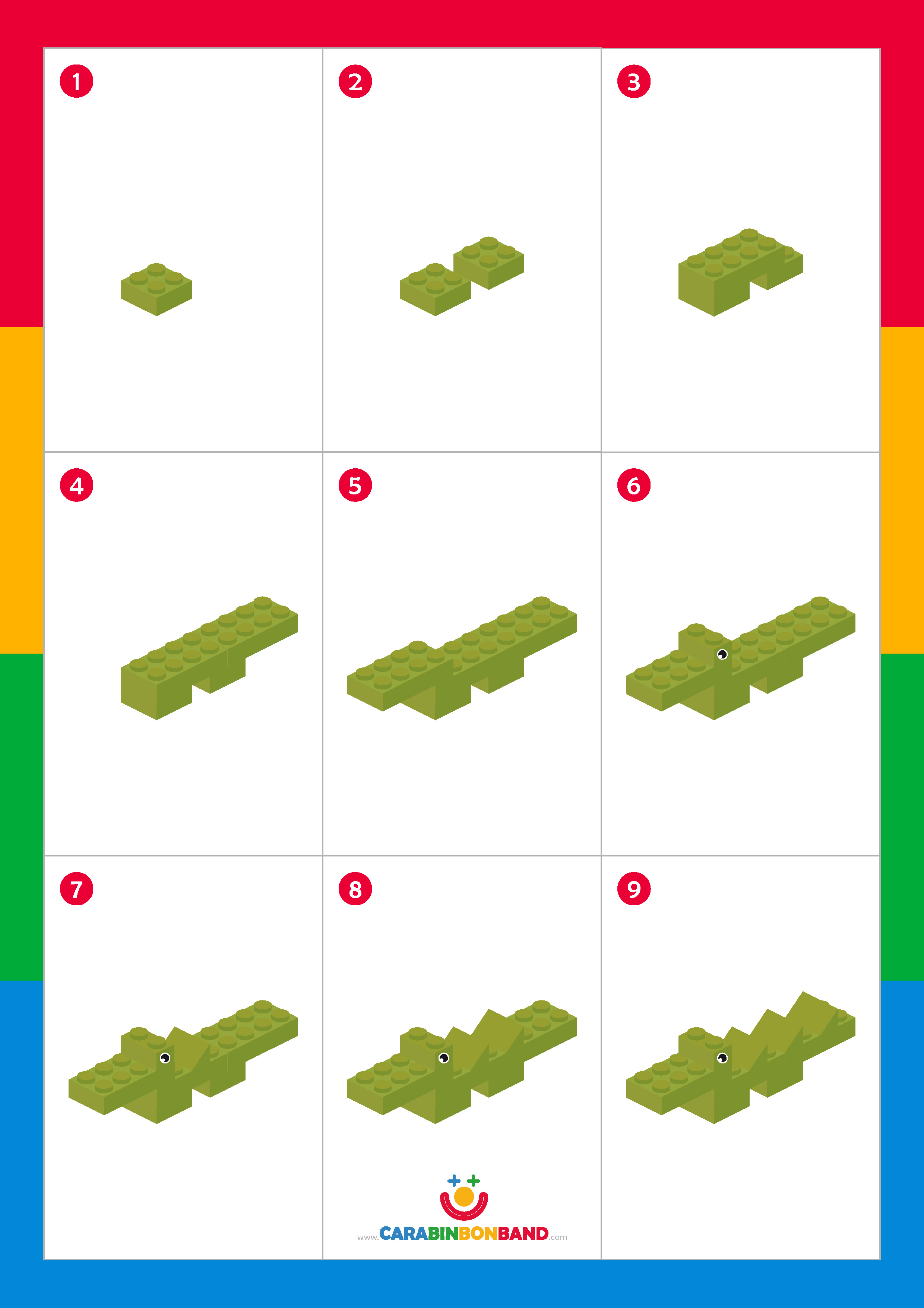 LEGO Tutorial: how to make a crocodile step by step