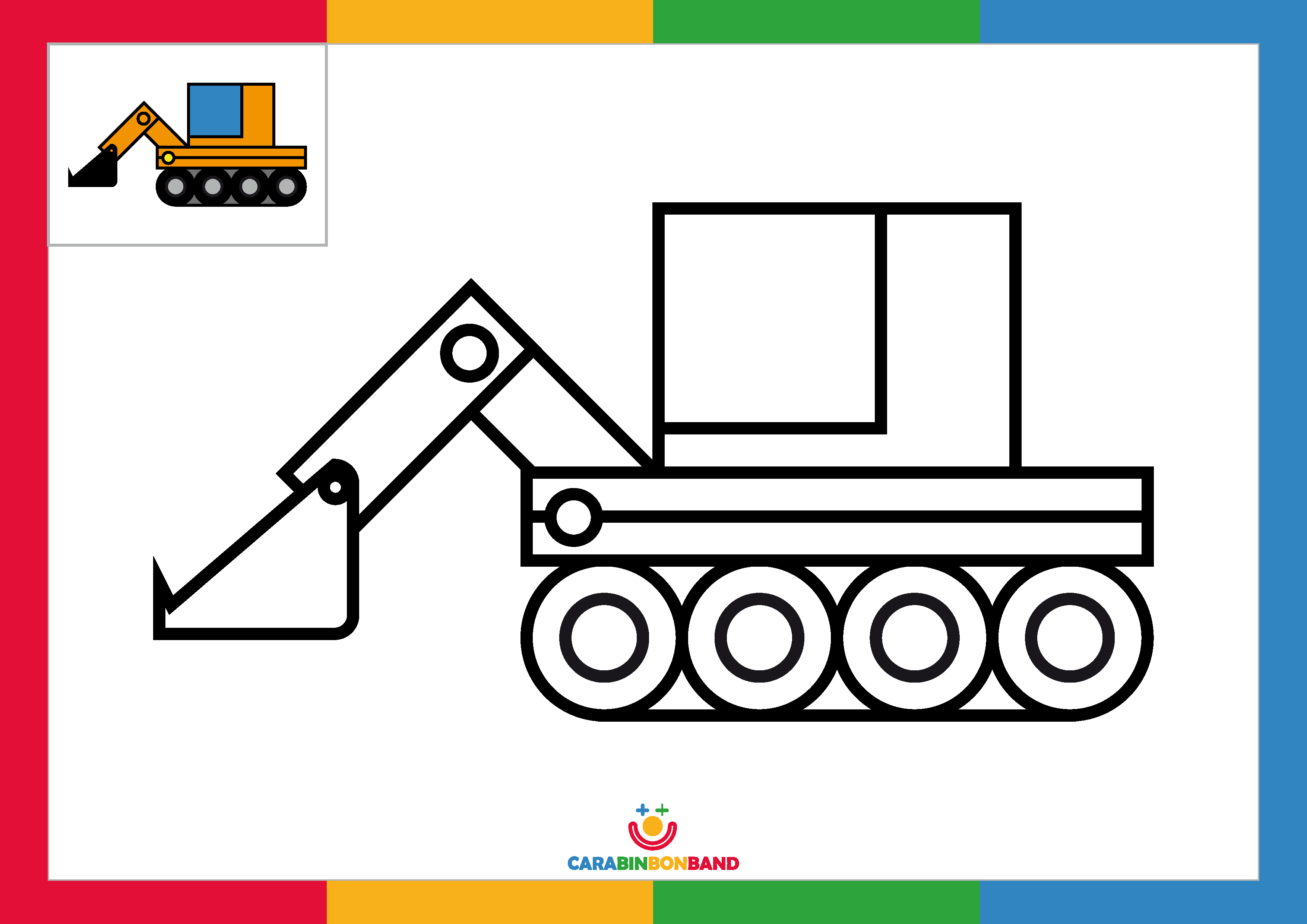 Coloring sheets: excavator for children