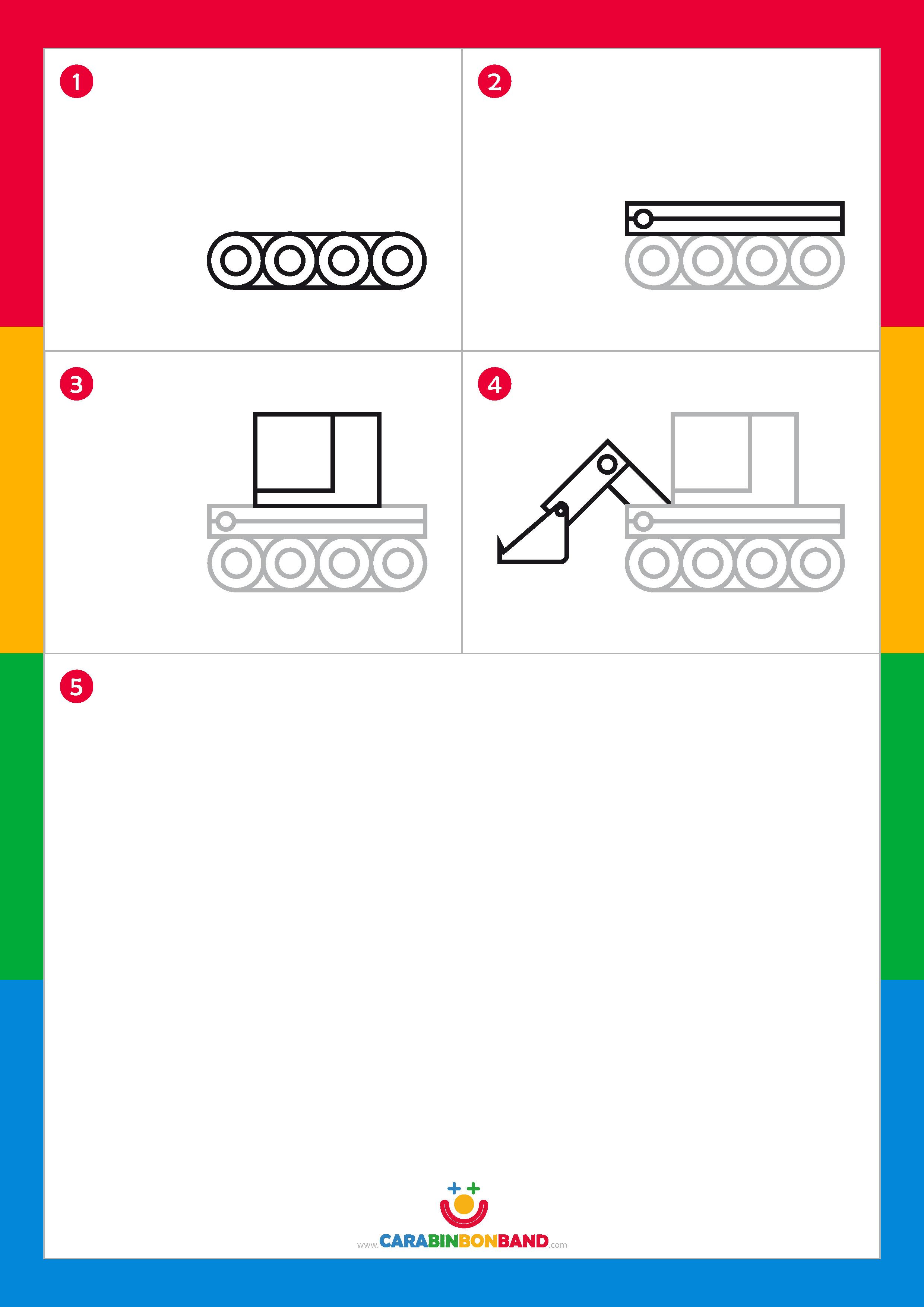 Drawing tutorials: easy excavator for kids