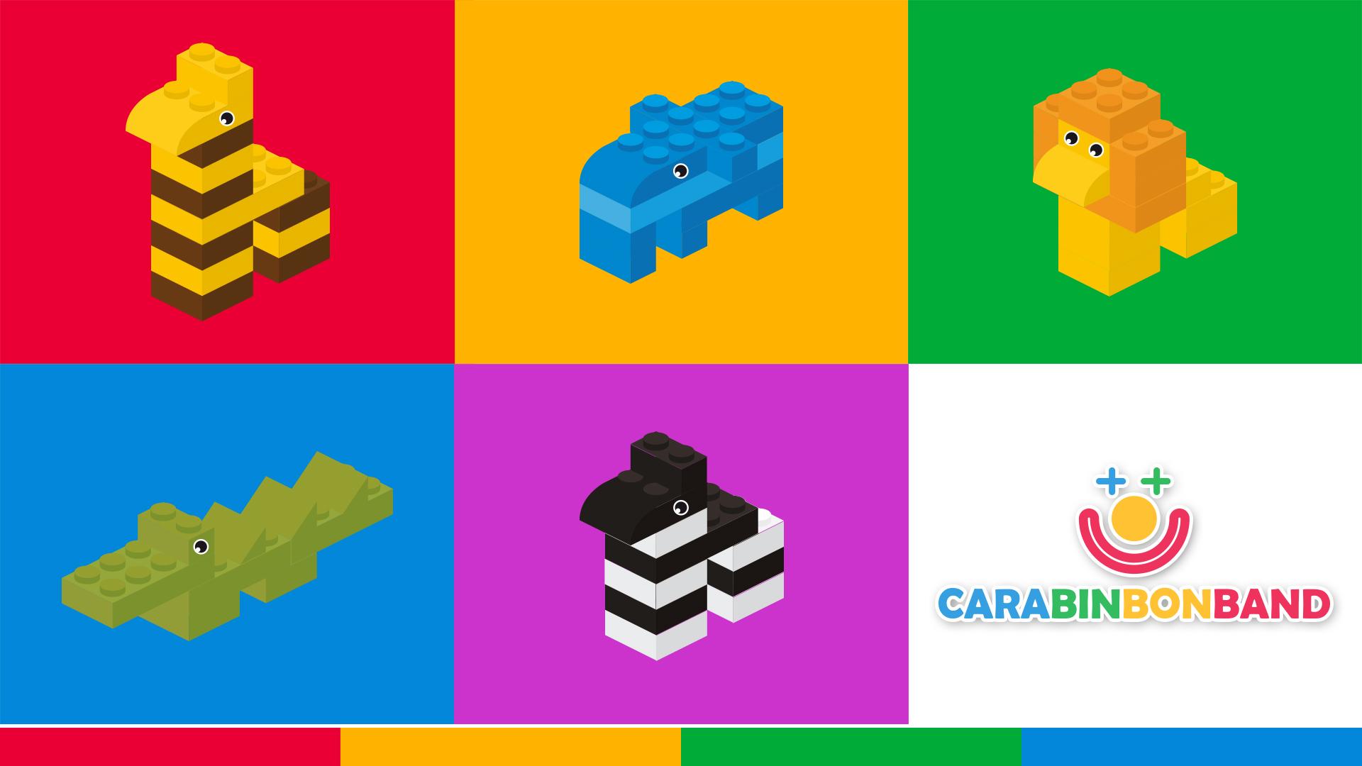 LEGO fácil para niños - cómo hacer animales de la jungla con bloques