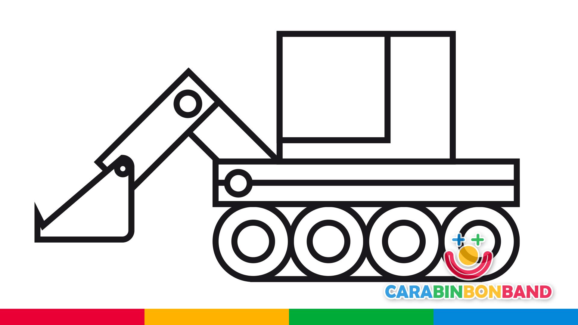 Dibujos fáciles - cómo dibujar una máquina excavadora fácil para niños