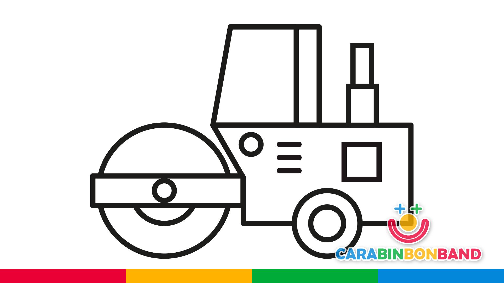 Dibujos fáciles - cómo dibujar y colorear una apisonadora paso a paso para niños