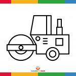 Fichas para colorear: máquina apisonadora para niños