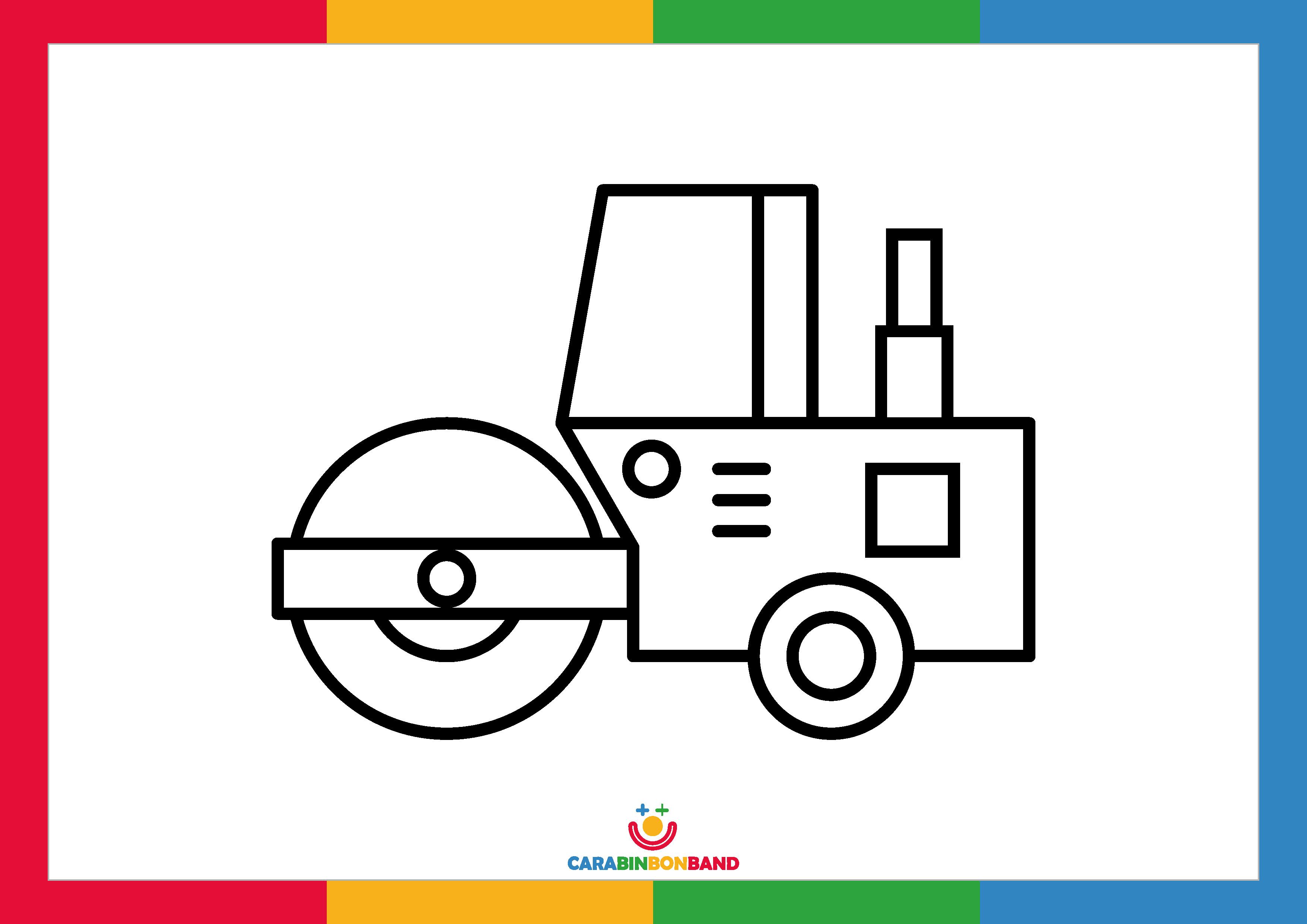 Coloring sheets: steamroller for children
