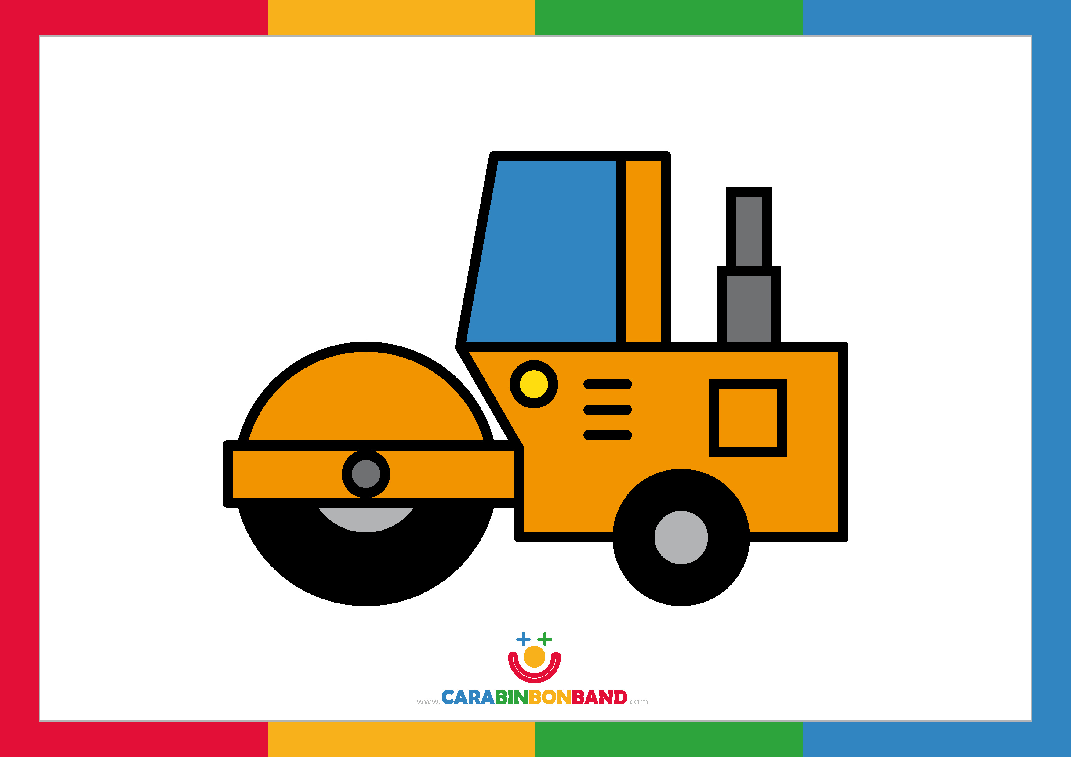 Children´s picture: yellow steamroller