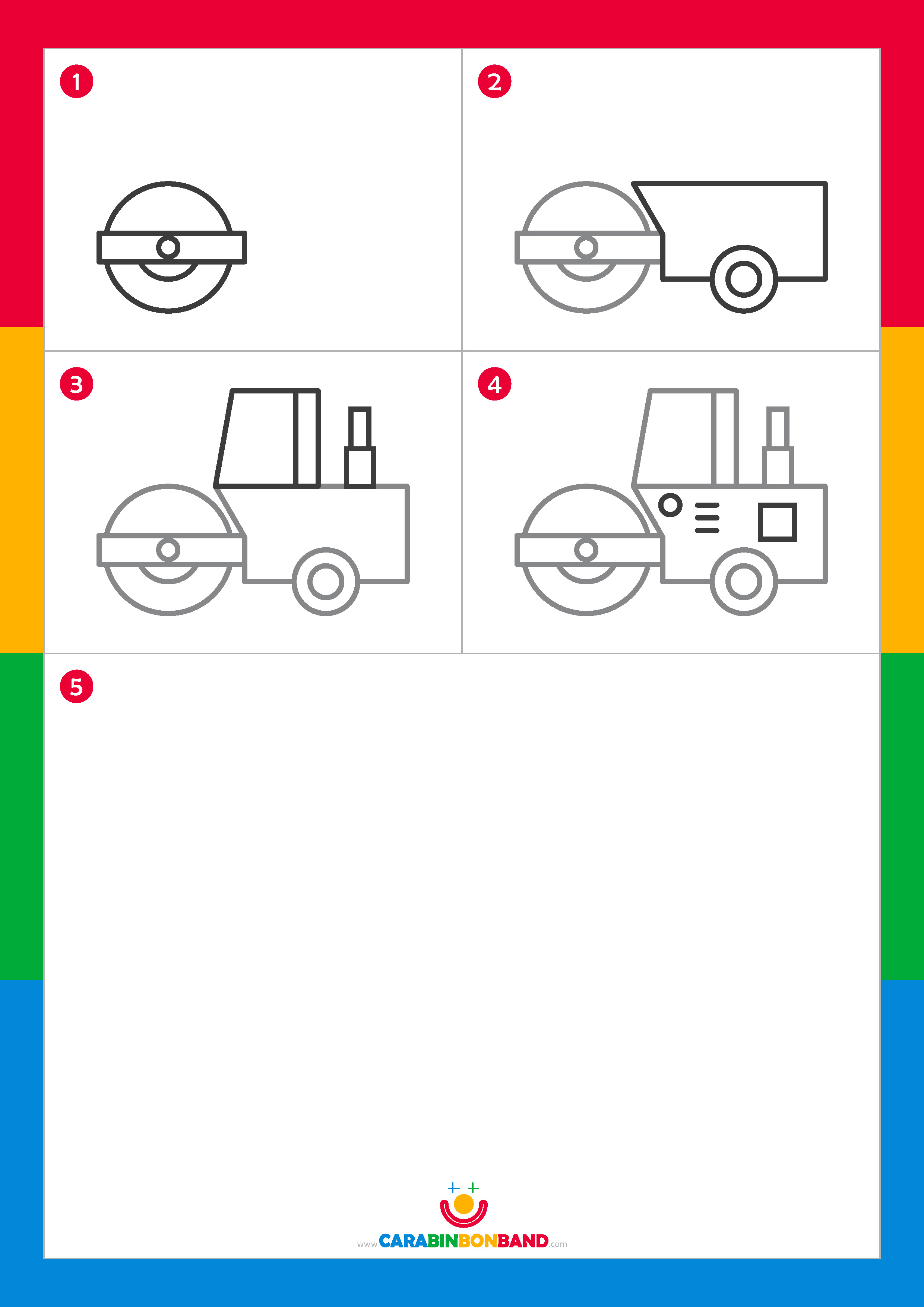 Drawing tutorials: easy steamroller for kids