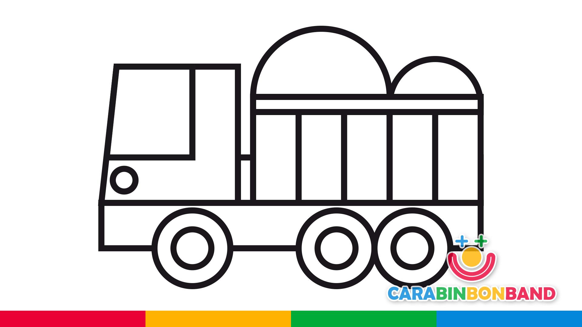 Dibujos para niños - cómo dibujar un camión volquete de obra con arena