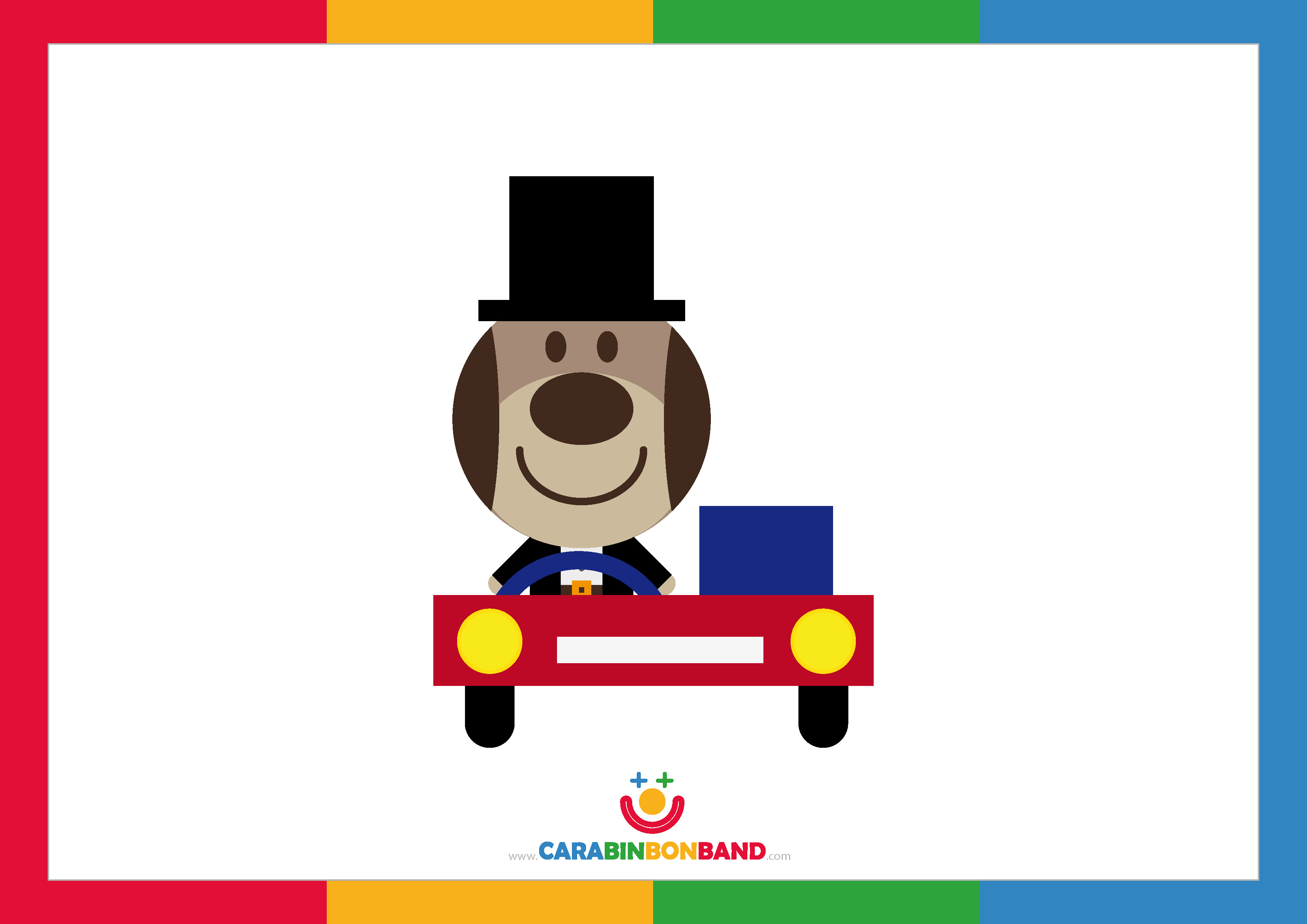 Children´s picture: dog driving a car