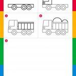 Tutoriales de dibujo: camión volquete fácil para niños