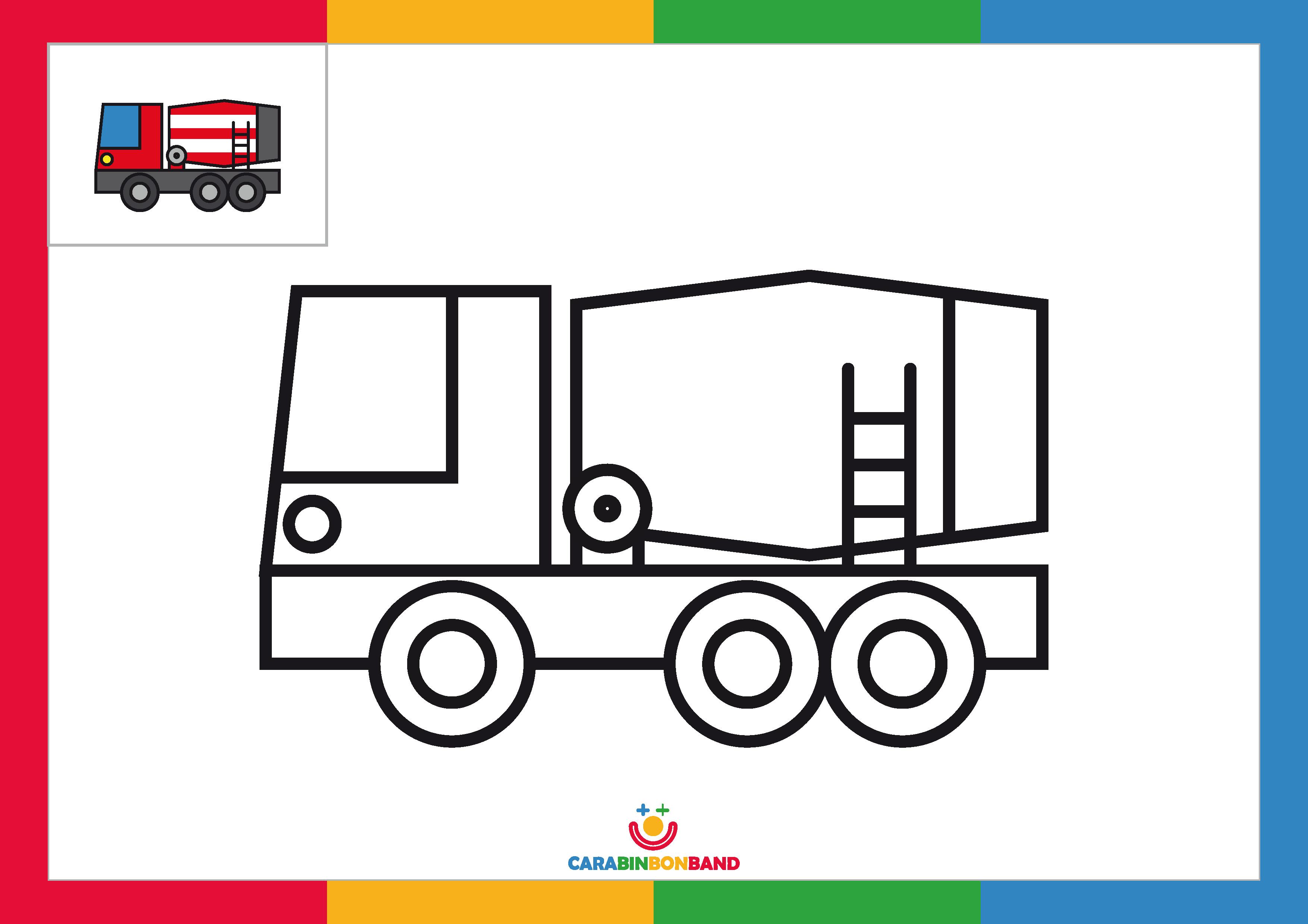 Fichas para colorear: camión hormigonera para niños