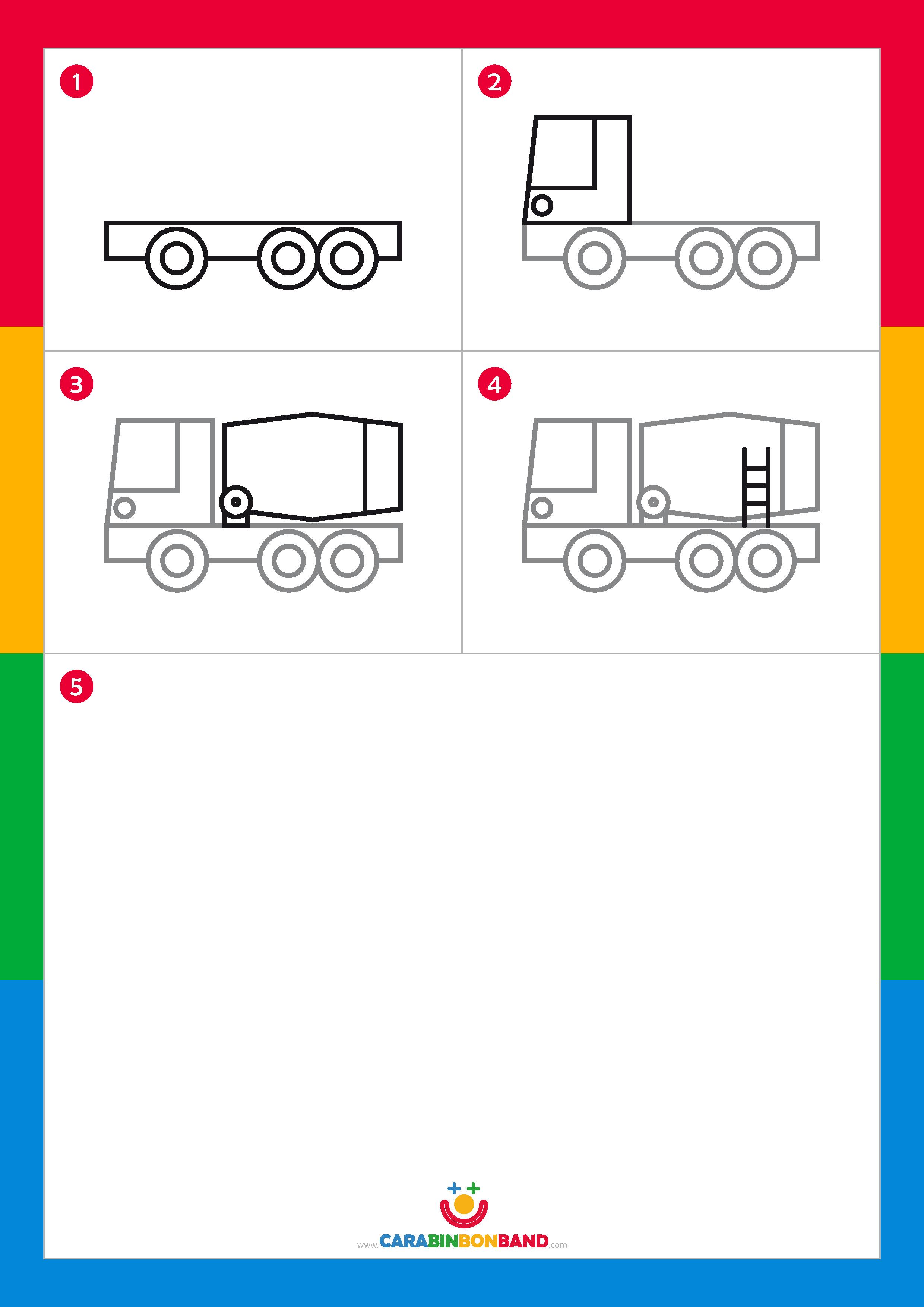 Tutoriales de dibujo: camión hormigonera fácil para niños