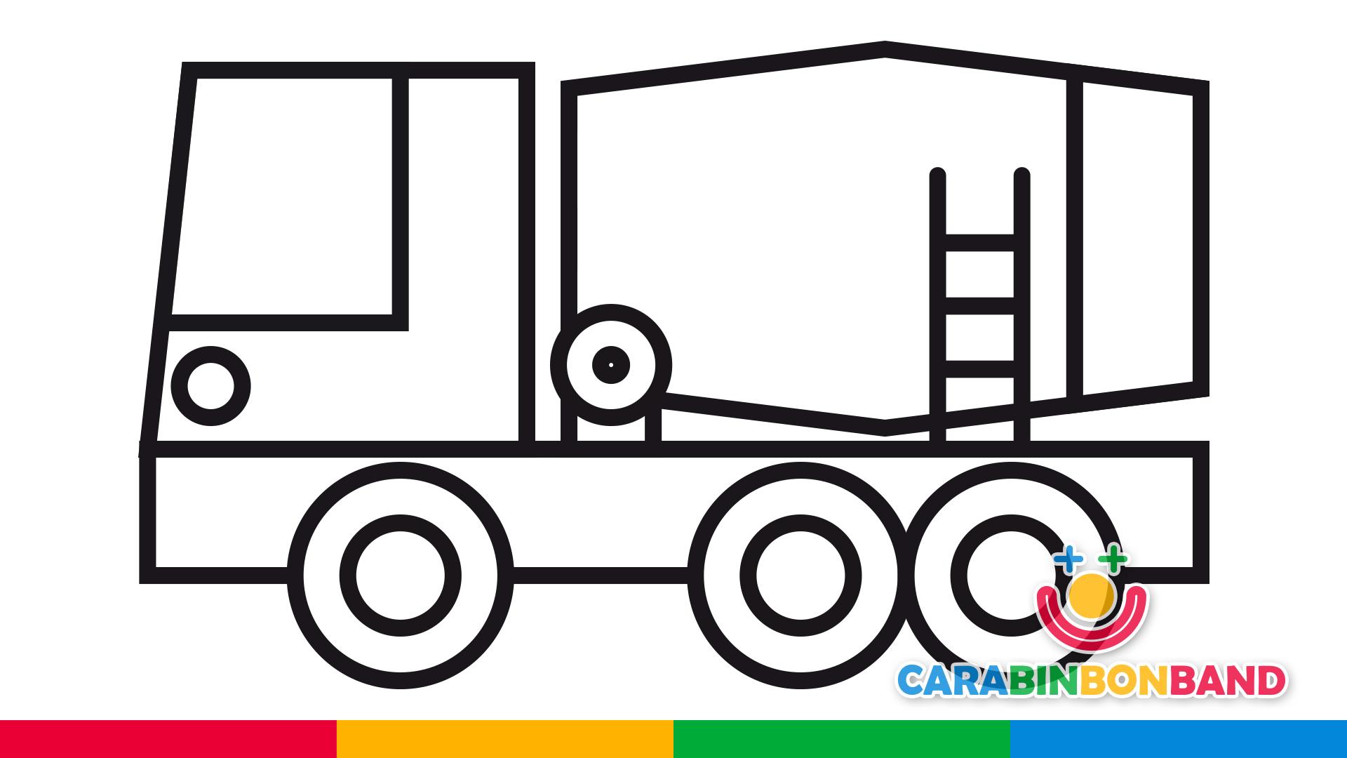 Dibujos para niños - cómo dibujar un camión hormigonera