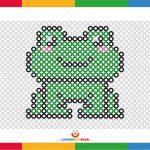 Fichas de puntos para colorear: rana