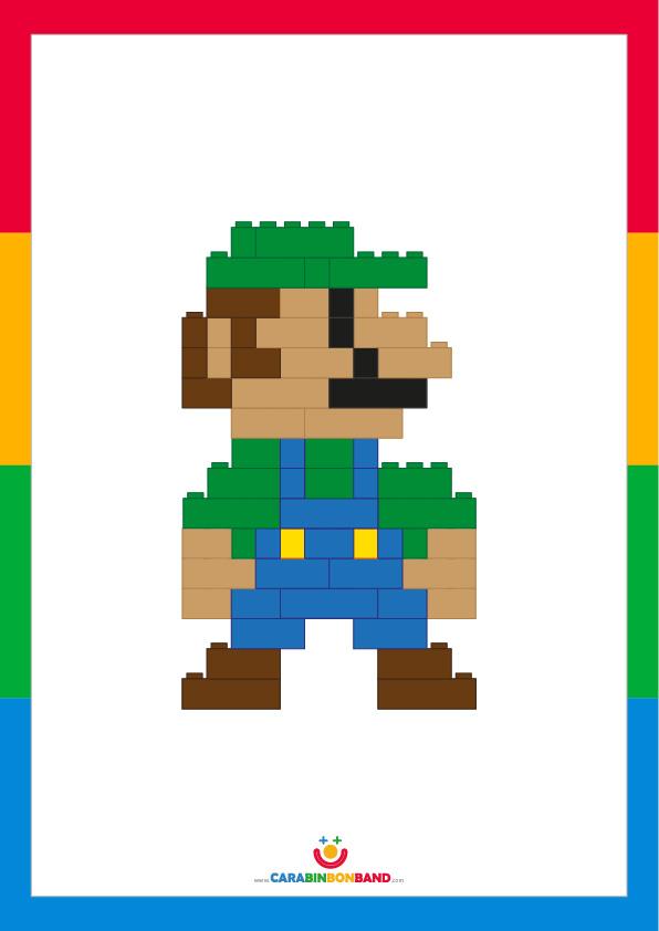 Láminas decorativas: Lego Luigi (Mario Bros) 8 bits
