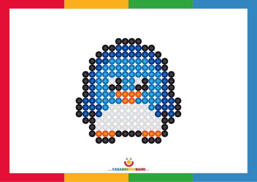 Children´s picture: penguin based on the technique of pointillism