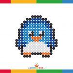 Lámina decorativa: pingüino basado en la técnica del puntillismo
