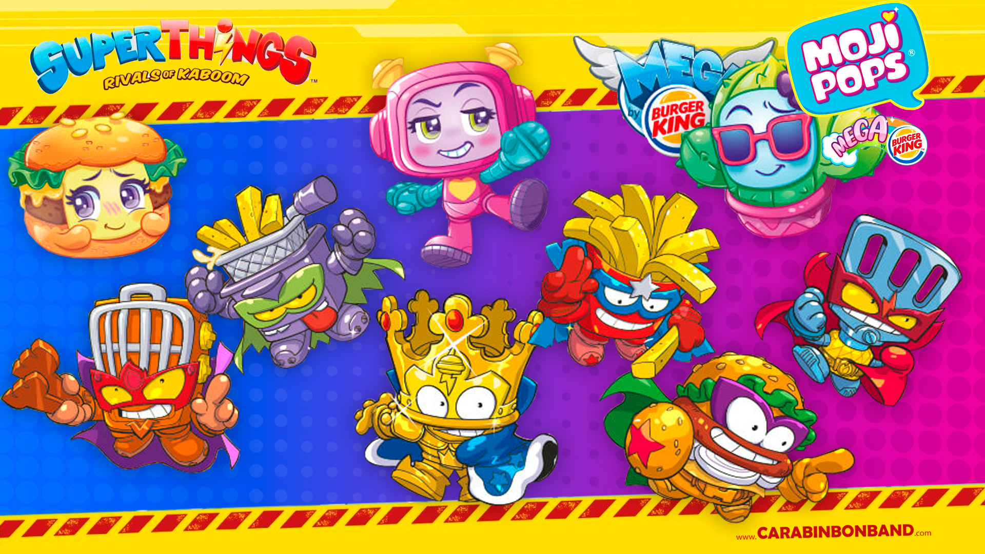 SUPERTHINGS and MOJIPOPS MEGA - SUPERZINGS BURGER KING series 2 - by CARA BIN BON BAND