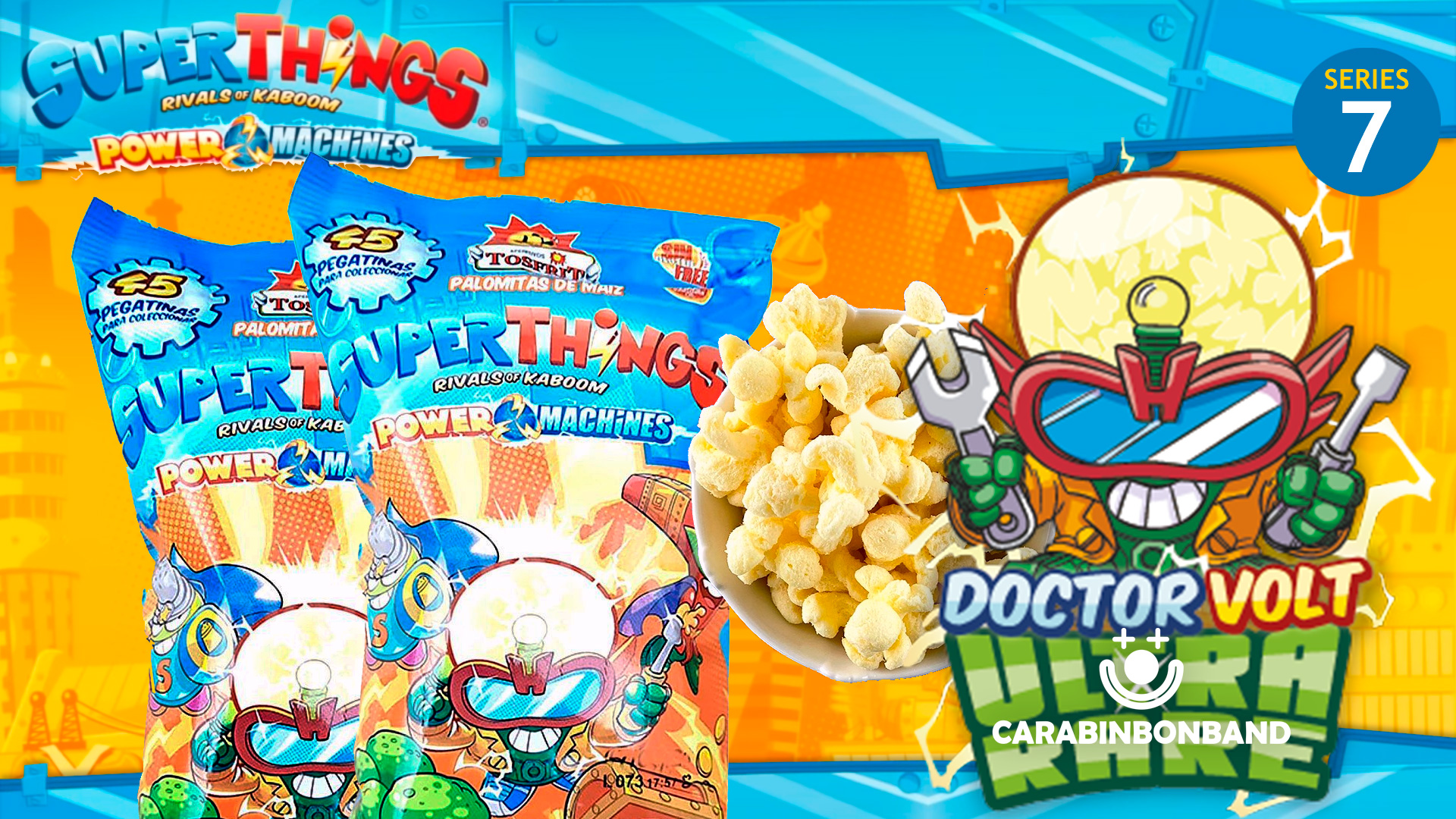 POPCORN AND STICKERS SUPERTHINGS SERIES 7 POWER MACHINES