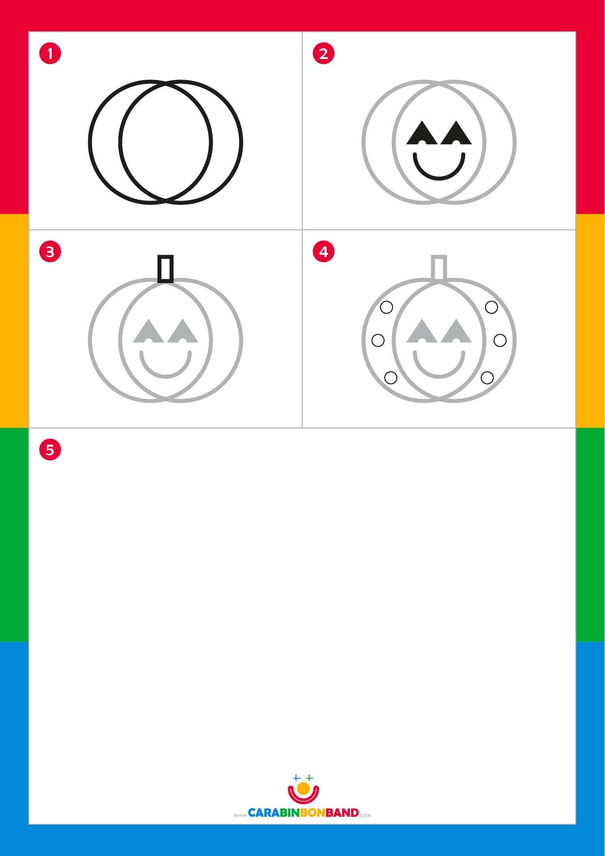 Tutoriales de dibujo: calabaza de Halloween fácil para niños